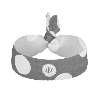 Black and White Polka Dot Monogram Elastic Hair Tie