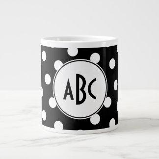 Black and White Polka Dot Monogram Large Coffee Mug