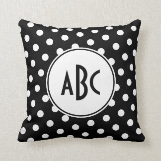 Black and White Polka Dot Monogram Pillow