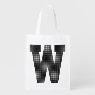 Black and White Polka Dot Monogram Reusable Grocery Bags