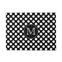 Black and White Polka Dot Monogrammed Doormat