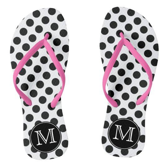 c7e067293 Black and White Polka Dot Monogrammed Flip Flops