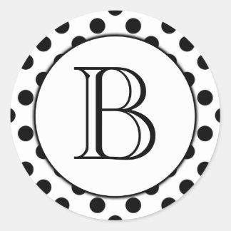 Black and White Polka Dot Monogrammed Sticker