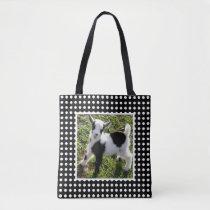 Black and White Polka Dot Nigerian Dwarf Goat Kid Tote Bag