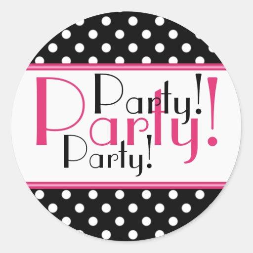 Black and White Polka Dot Party Sticker