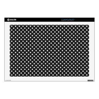 """Black and White Polka Dot Pattern 17"""" Laptop Skin"""