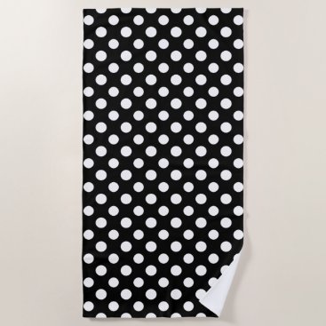 Beach Themed Black and White Polka Dot Pattern Beach Towel