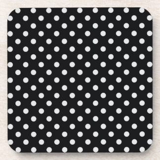 Black and White Polka Dot Pattern Beverage Coaster
