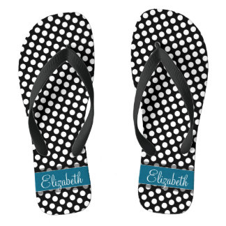 Black and White Polka Dot Pattern Blue Monogram Flip Flops