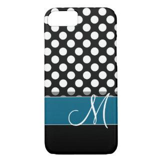 Black and White Polka Dot Pattern Blue Monogram iPhone 8/7 Case