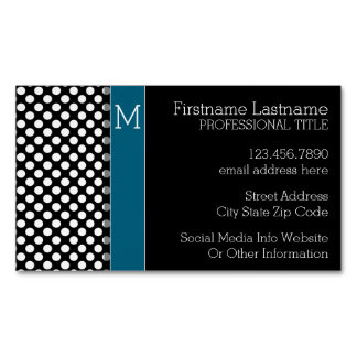 Black and White Polka Dot Pattern Blue Monogram Magnetic Business Card
