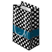 Black and White Polka Dot Pattern Blue Monogram Small Gift Bag