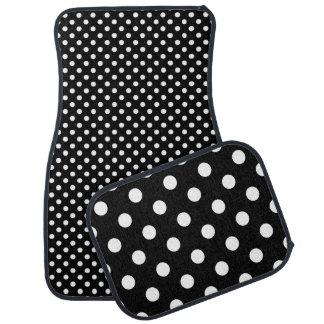 Black  and White Polka Dot Pattern Car Floor Mat