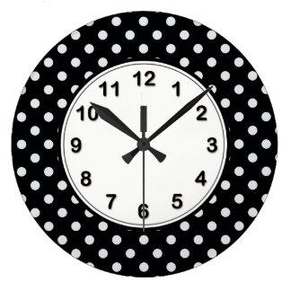 Black and White Polka Dot Pattern Wallclocks