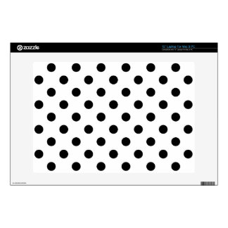 Black and White Polka Dot Pattern Decals For Laptops