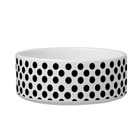 Black and White Polka Dot Pattern Dog or Cat Bowl