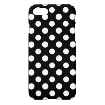 Black and White Polka Dot Pattern Glossy iPhone 7 Case