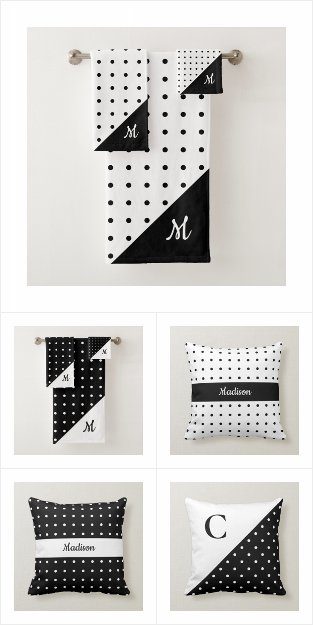 Black and White Polka Dot Pattern Home Decor