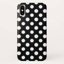 Black and White Polka Dot Pattern iPhone X Case