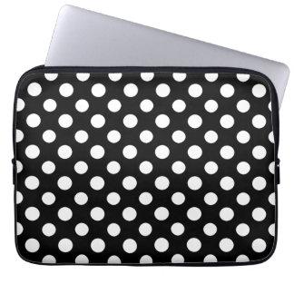 Black and White Polka Dot Pattern Laptop Sleeves
