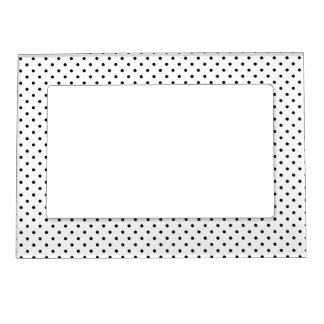 Black and White Polka Dot Pattern Magnetic Picture Frame