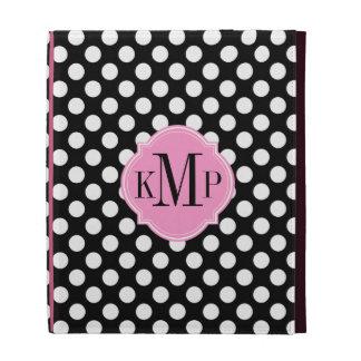 Black and White Polka Dot Pattern Monogram iPad Folio Case