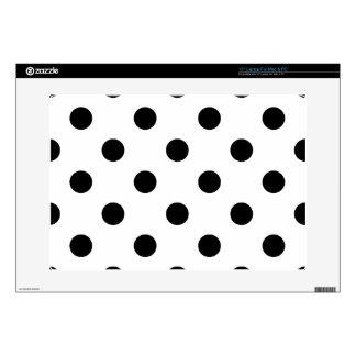 Black and White Polka Dot Pattern Skins For Laptops
