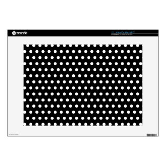 "Black and White Polka Dot Pattern. Spotty. 15"" Laptop Decal"