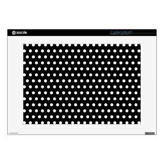 "Black and White Polka Dot Pattern. Spotty. 15"" Laptop Decal"
