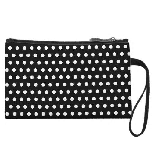 Black and White Polka Dot Pattern. Spotty. Wristlet Purse