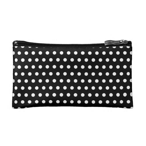 Black and White Polka Dot Pattern. Spotty. Cosmetic Bags