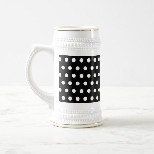 Black and White Polka Dot Pattern. Spotty. Beer Stein