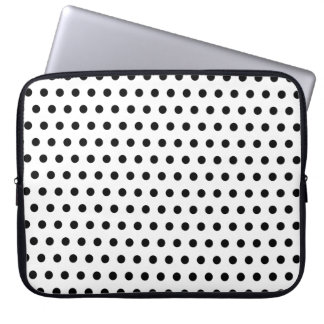 Black and White Polka Dot Pattern. Spotty. Computer Sleeve