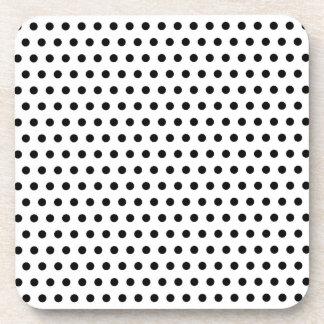 Black and White Polka Dot Pattern. Spotty. Drink Coasters