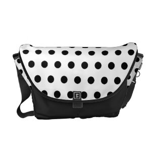 38c42efd42bfb7 Black and White Polka Dot Pattern. Spotty. Courier Bag