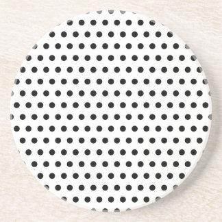 Black and White Polka Dot Pattern. Spotty. Drink Coaster