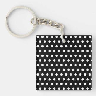 Black and White Polka Dot Pattern. Spotty. Acrylic Key Chain