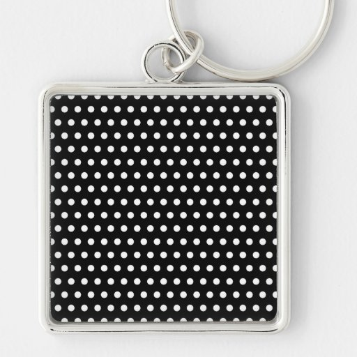Black and White Polka Dot Pattern. Spotty. Silver-Colored Square Keychain