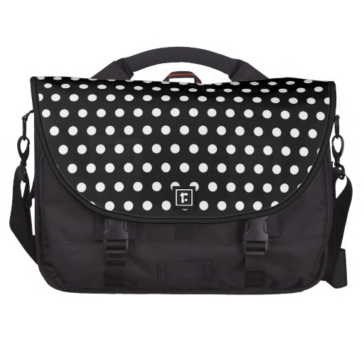 Black and White Polka Dot Pattern. Spotty. Bags For Laptop