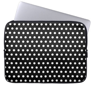 Black and White Polka Dot Pattern. Spotty. Laptop Computer Sleeve
