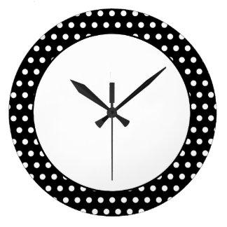 Black and White Polka Dot Pattern. Spotty. Large Clock