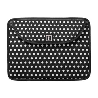 Black and White Polka Dot Pattern. Spotty. MacBook Pro Sleeves