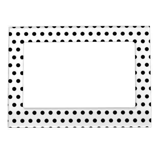 Black and White Polka Dot Pattern. Spotty. Frame Magnet