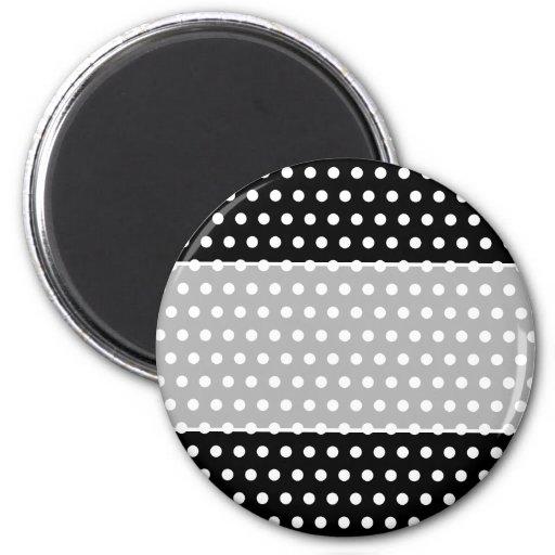 Black and White Polka Dot Pattern. Spotty. Magnets