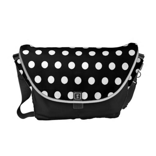 Black and White Polka Dot Pattern. Spotty. Commuter Bag