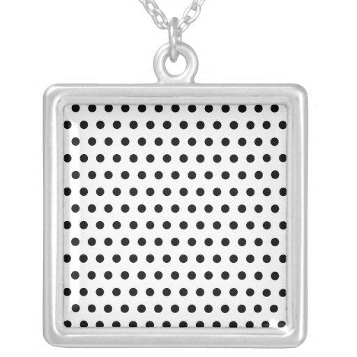Black and White Polka Dot Pattern. Spotty. Personalized Necklace