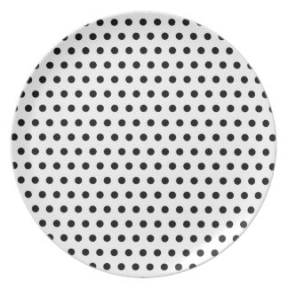 Black and White Polka Dot Pattern. Spotty. Party Plate