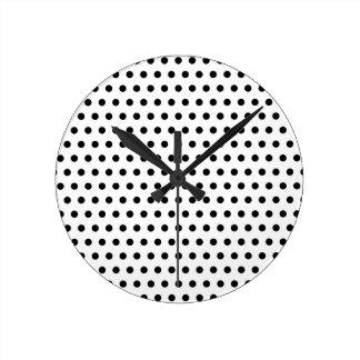 Black and White Polka Dot Pattern. Spotty. Round Clock