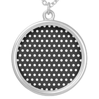 Black and White Polka Dot Pattern. Spotty. Silver Plated Necklace