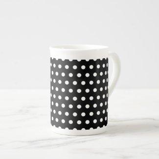 Black and White Polka Dot Pattern. Spotty. Porcelain Mugs